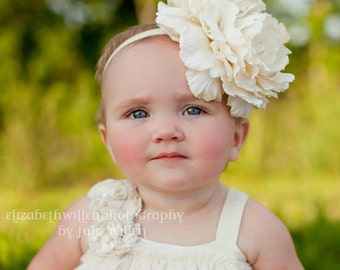 Vintage inspired ivory flower headband,ivory peony headband, large flower headband, ivory baby headband,flower girl headband