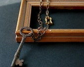 key necklace. one heart. one key. vintage skeleton key and escutcheon. one-of-a-kind reclaimed necklace. by baltica