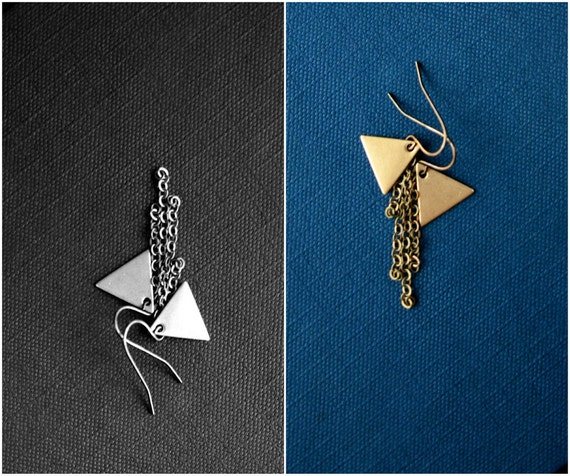 triangle jewelry. pyramid earrings. tiny brass triangle charms. by baltica