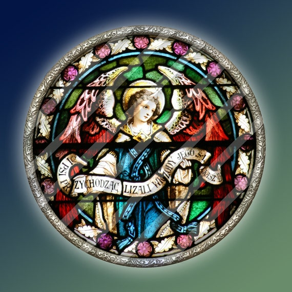 ANGEL ORNAMENTS 3.5 inch Circles - 5 Digital Printable Stained Glass Photos for making Decorations Cards Paper Crafts
