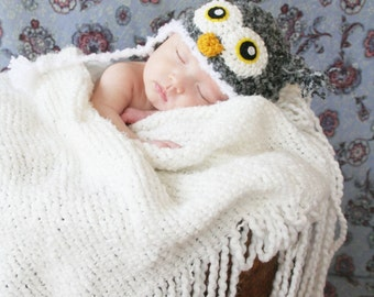 Crochet Fuzzy Gray Owl Hat (Newborn)