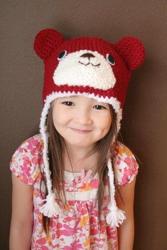 SALE - Red Bear Crochet Hat (4T - Preteen)