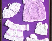 Vintage Crochet Pattern - Fontana No. 1448 - 1970s Preemie or Doll Clothes