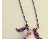 Angel Wings necklace Glass Bottle pendant, with glitter stars. CUSTOM STARS COLOR. Glass vial necklace. miniature Bottle. Cute necklace