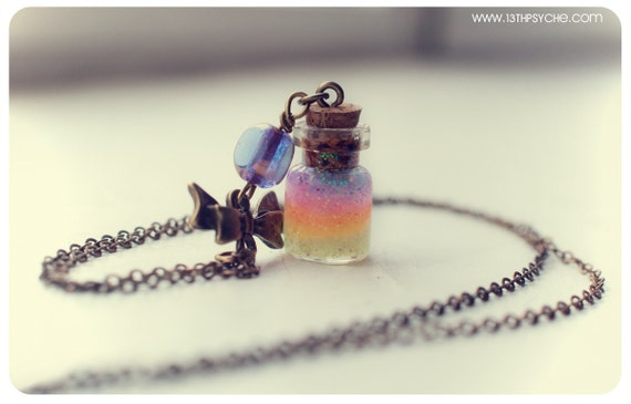 Cute bow with Rainbow glass Bottle pendant, with glitter gel. Glass Vial Necklace, miniature bottle charm necklace, rainbow bottle