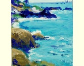 Original Acrylic Painting Impresstionist Seascape Blue Ocean California Coast