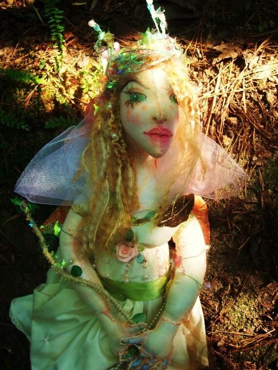 OOAK Fairy Cloth Art Doll, Titania