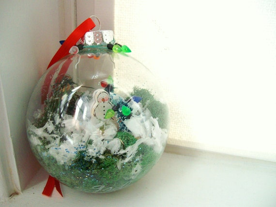 Snow Globe Christmas Ornament - Snowman and Christmas Lights in a Large Glass Ball Ornament