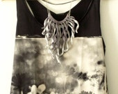 Crochet fringe necklace. Shades of grey cotton tassels