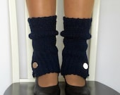 Crochet spats, legwarmers, boot cuffs with button in navy blue.