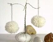 Mademoiselle pom pom chandelier earrings in off white