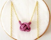 Bonds, crochet knot necklace, nautical necklace. Nautical knot bowline. Lavender cotton yarn