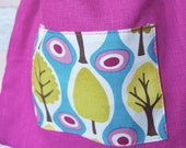 Pretty Purple Linen Patchwork Drawstring Pouch for Gemstones, Crystals, Oracle Cards