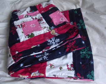 Upcycled Patchwork Baby Quilt - Flannel Quilt Winter Gift Snowflakes Soft Warm Cozy Oblong