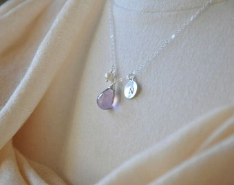 Custom Birthstone Sterling Silver Necklace- Purple Amethyst Necklace with Initial, February Birthstone, Custom Bridesmaids Gifts