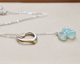 Sterling Silver Heart Lariat Necklace- Heart Necklace, Open Heart Pendant, Dainty Necklace, Gemstone Necklace, Blue Stone Necklace