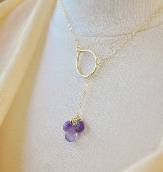 14K Gold Filled Purple Amethyst Cluster Lariat Necklace- February Birthstone, Bridesmaids Gifts