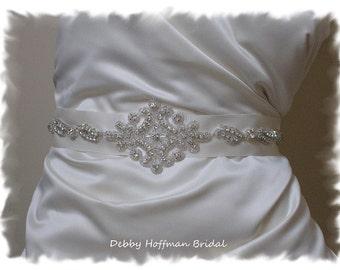 Jeweled Wedding Belt, Rhinestone Crystal Bridal Sash, Rhinestone Wedding Dress Sash, Wedding Belts Sashes, Silver Beaded Belt, No. 1161S1151