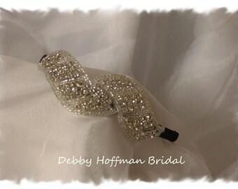 Rhinestone Bridal Headband, Jeweled Bridal Headpiece, Rhinestone Crystal Ribbon Headband, Wedding Headband, Wedding Head Piece, No. 2091HB