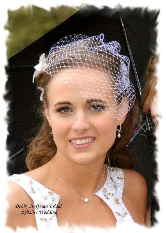 Wedding Veil, Bridal Veil, Birdcage Veil, Wedding Blusher Veil, Blusher Birdcage Veil, Wedding Veil, Small Veil, Bridal Hair Piece, No. 401