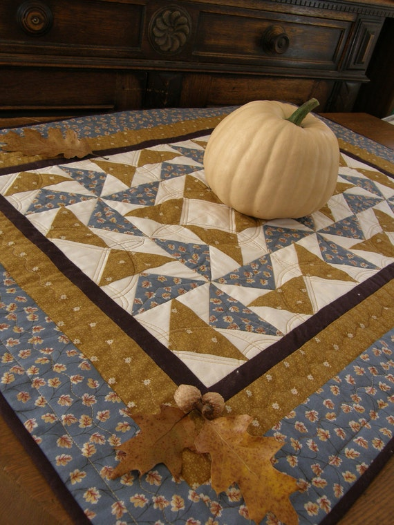 Reserved for Brian - Fall Table Runner - PINWHEELS and LEAVES Table Topper
