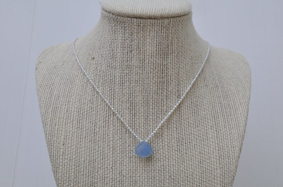 Blue Chalcedony Briolette and Freshwater Seed Pearl Necklace