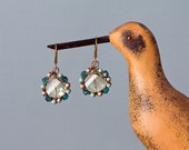 All that Glitters-earrings, pearl and crystal, brass earrings, gold and turquoise, pearls