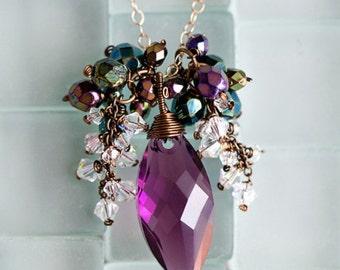 Italian Vineyard - Swarovski crystal necklace, 14k gold fill, antique brass