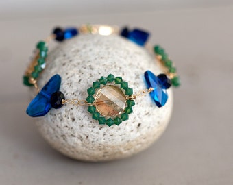 Peacock bracelet - blue swarovski crystal, peacock colors, bridesmaid bracelet
