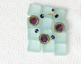 Bygone Era - earrings, swarovski crystal, matte gold, sterling silver