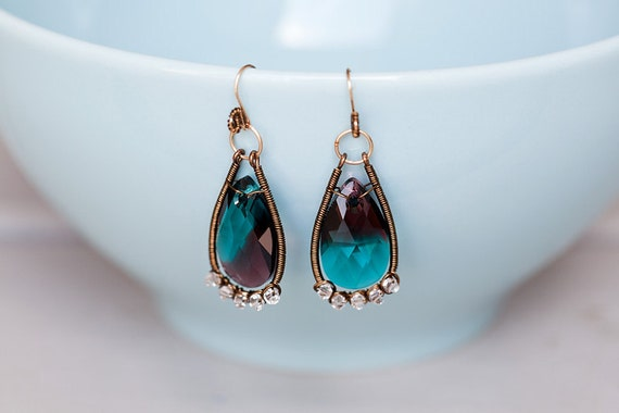 Modern Vintage earrings-turquoise burgundy crystal, wirewrapped, antique brass, 14k gold fill
