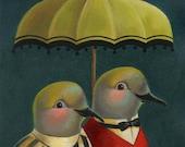 Bird Portrait Print - Mourning Dove Print - Bird Art - Bird Portrait with Umbrella