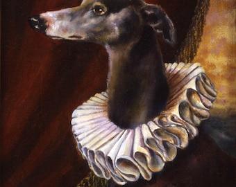 Greyhound Dog Portrait Print - Dog Art - Greyhound Art - Greyhound Portrait - Elizabethan -
