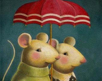 Mouse Portrait Print - Mouse Couple - Animal Portrait - Umbrella - Rain