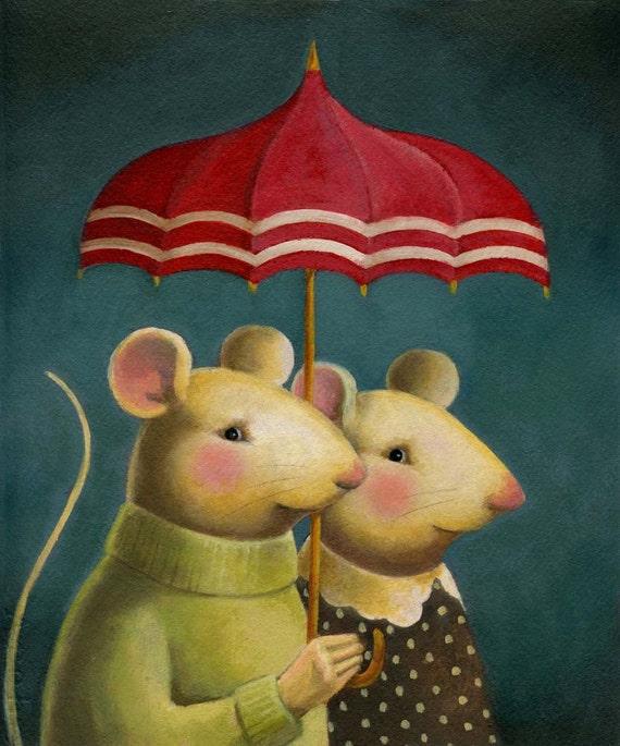 Mouse Portrait Print - Mouse Couple - Animal Portrait - Umbrella - Rain