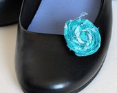 Rolled Fabric Rosette Shoe Clips in Teal Blue
