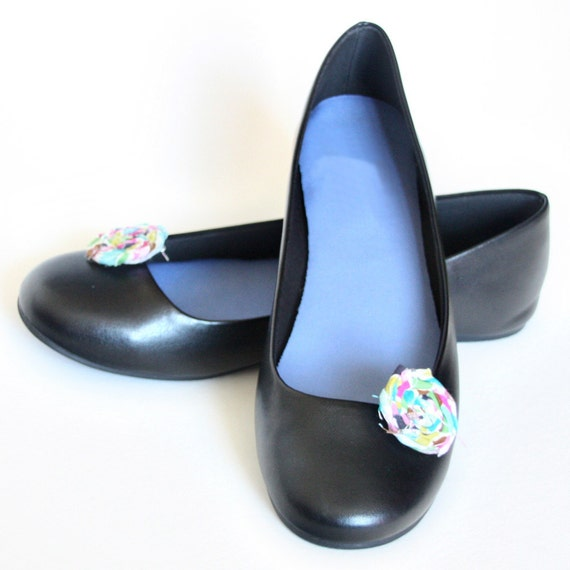 Rolled Fabric Rosette Shoe Clips in Jewel Tones