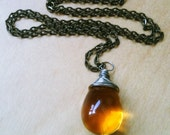 30% OFF SALE! Amber Glass Necklace Honey Jewelry Caramel glass Wire Wrapped Necklace Gold Fairy Necklace Silver Wire Antiqued Brass Jewelry