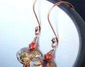 40% OFF! Copper & Glass Earrings. Hall of Mirrors - Gilded Bronze. Fire Opal Swarovski.