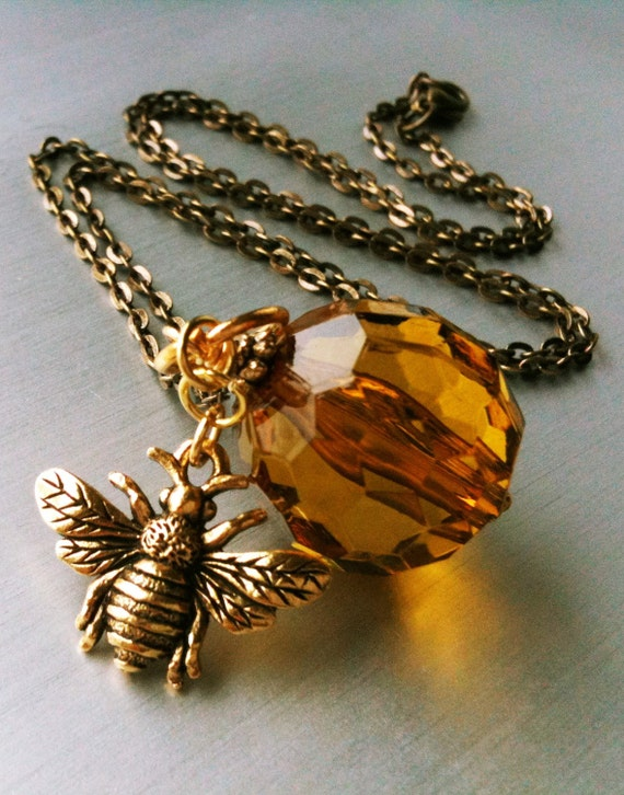 Honeybee Necklace. Amber Jewelry. Gold Pendant.  Bumble Bee. Pewter and Vintage Lucite. Antiqued Brass. Vintage Inspired
