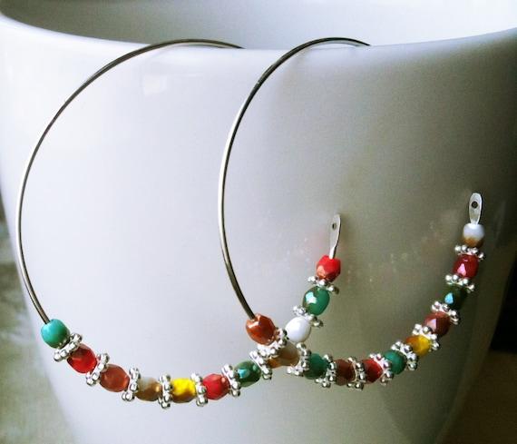 50% OFF SALE! Carnival Earrings Silver Hoops Colorful Earrings Cinco de Mayo Fiesta Earrings Nugget Earrings Silver and Czech Glass Rainbow