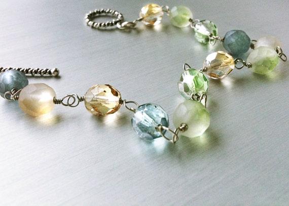 30% OFF SALE! Sea Glass Bracelet. Frosted Glass. Sterling Silver Bracelet. Mermaid Jewelry Toggle Clasp Blue, Green, & Gold Czech Glass OOAK