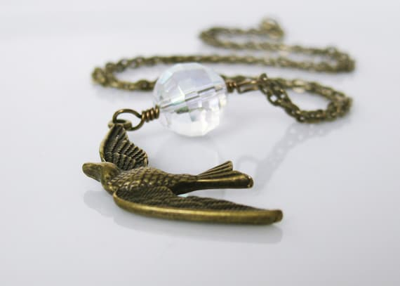 Vintage Bird Necklace. Antiqued Brass Necklace. Vintage Glass Bead. Aurora Borealis. Peace, Love, New Beginnings.