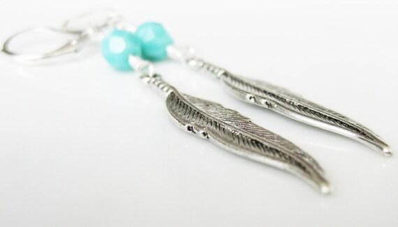 50% OFF SALE! Tribal Feather Earrings Turquoise Earrings. Silver Earrings. Vegan feathers. Bohemian Jewelry. Trendy earrings. Blue Earrings.