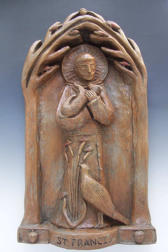 St Francis, Patron of Nature: Handmade Statue / Plaque