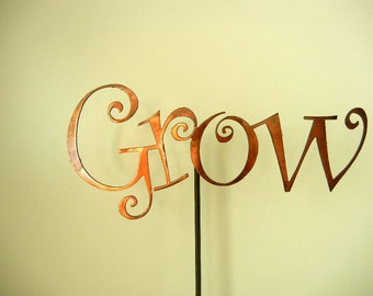 Grow, Metal Garden Stake