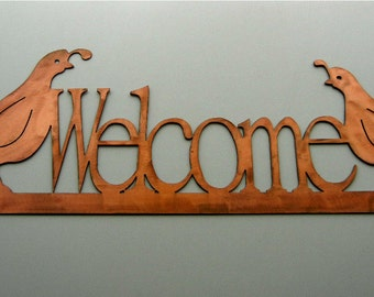 Quail Welcome, Metal Wall Sign