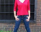 "Women's Asymmetrical Red Nautical T-Shirt- ""Sweet T""- Size Small/Medium"