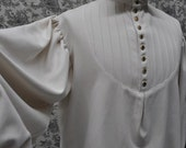 Men's Victorian Shirt--Steampunk Dress Shirt--Sweeney Todd--High Collar--Button Up-- Pleated Shirt--Long Sleeves---Made to Order-