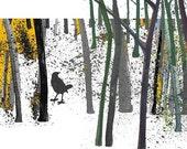 Woodland Bird Art print  Natural Magical wood Limited Edition Blackbird forest  golden mustard moss brown green  yellow black